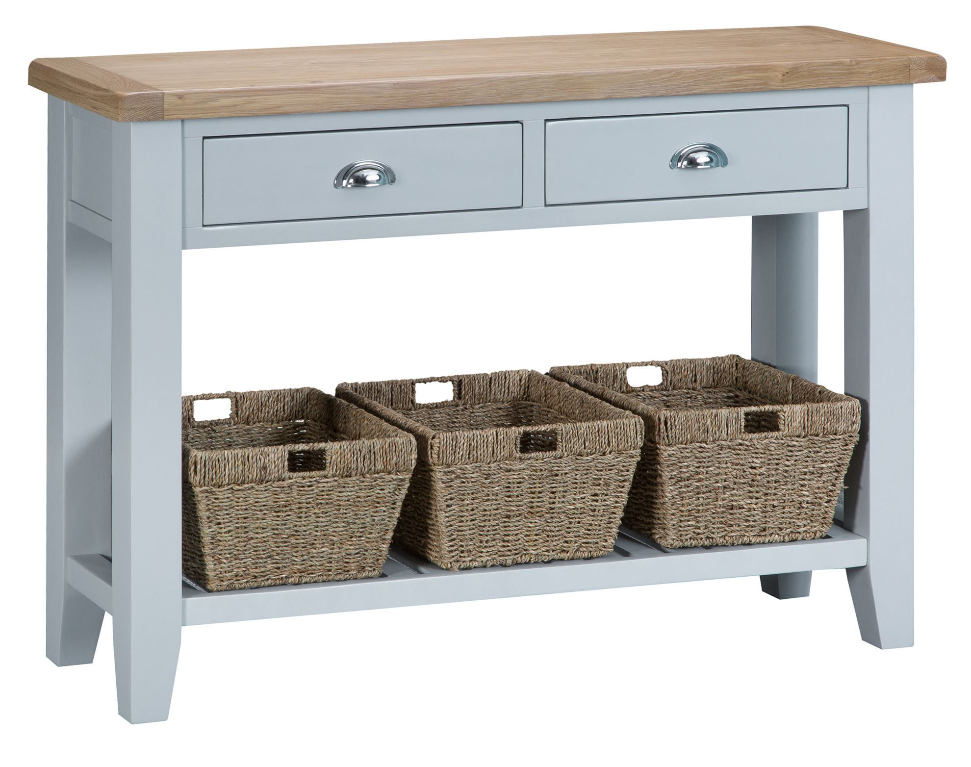 Buckingham Large Console Table, Oak Console Table With Storage Baskets